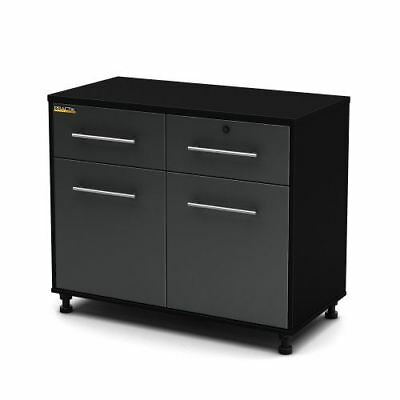 South Shore Karbon Collection Base Storage Cabinet, Pure Black/ Charcoal