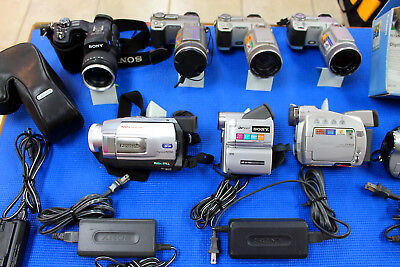 Lot of 9 Digital Cameras and Video Cameras Untested For As-Is Parts or Repair