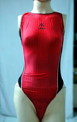 Red Spandex Thong Leotard for Women size 12 Medium