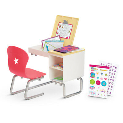 """American Girl MY AG FLIP TOP DESK for 18"""" Doll Chair Book Furniture School NEW"""