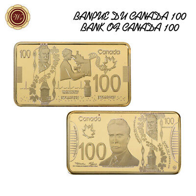 WR CANADA 100 Dollars Bill 24K Gold Bullion Bar Bussiness