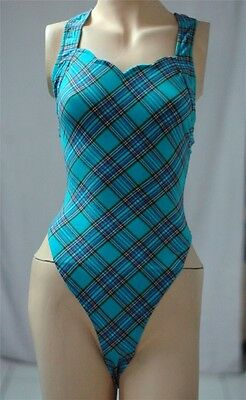 Blue Cotton Spandex Thong Leotard for Women size 10 Small