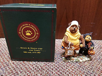 Boyds Bears & Friends Bearstone CANDY B. CORN WITH SCAREDY BEAR...TRICK OR TREAT
