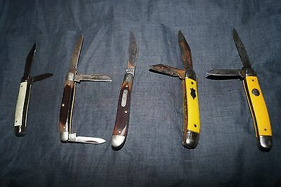 Vintage Pocket Knives Lot / Small Fishing Knives / Two Blade Folding Knives