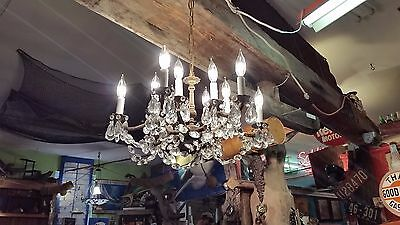 Antique Vintage Spanish 6-Arm 12-Light Crystal & Brass Chandelier w/ 209 Prisms