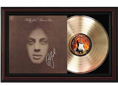 Billy Joel Piano Man 24k Gold LP Record With Reproduced Autograph Wood Frame