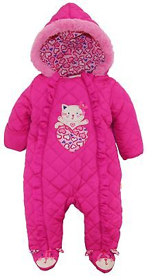 Duck Goose Baby Girls Cute Little Kitty Quilted Footed Ear Snow Pram Suit