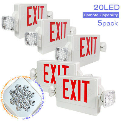 |5-Pack|Compact Combo Fire Safety LED Red Exit Sign Emergency Dual Swivel Light