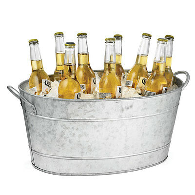 Galvanised Oval Beverage Tub 21ltr Party Tub, Drinks Pail,Beer Bottle,Ice Bucket