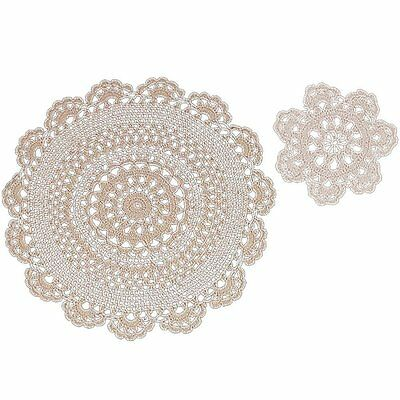 Handmade 100% Cotton Crochet Lace Beige Doilies 12 Inch Round (4 Piece Set)