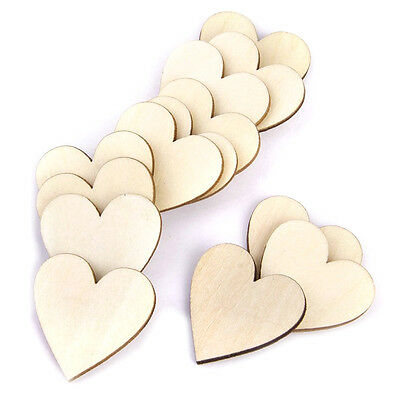 50pcs 30mm wood heart decorations for DIY decoration U4X6