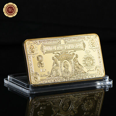 WR 1899 $2 Silver Certificate Banknote Gold Clad Bullion Ingot Bar Collector