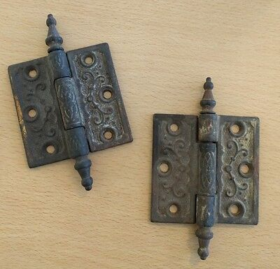 Lot of 2 Antique Vintage Victorian Cast Iron Hinges 3x3 Door Cupboard Cabinet