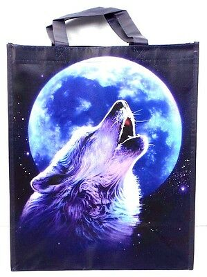Howling Wolf Moon Tote Bag Reusable Shopping Grocery Bag Purple and Blue