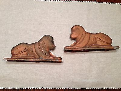 Vintage Cast Metal Pair of Lion Gate Toppers