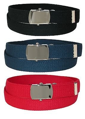 New CTM Kids' Cotton Web Belt with Military Buckle (Pack of 3 Colors)