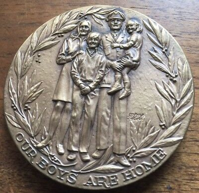 """1973 Peace In Vietnam BRONZE MEDAL  2 1/2"""" MEDALLIC ART CO Our Boys Are Home"""