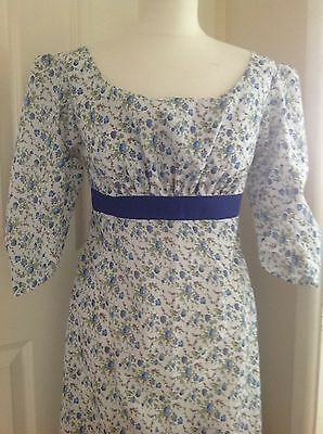 Ladies Regency Jane Austen Dress Sz 12 Blue Rose Sprigs Cotton Bust 36""