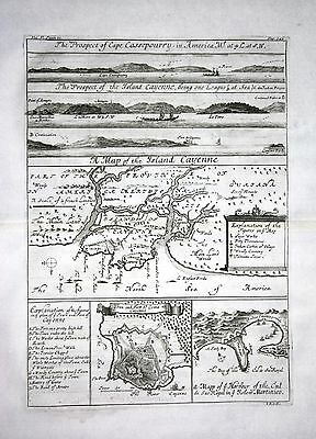 1730 - Cayenne French Guayana South America - Kupferstich / engraving map Karte