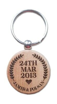 Wooden Laser Engraved  Personalised Gift Key fob Heart/Circle/Oval shaped