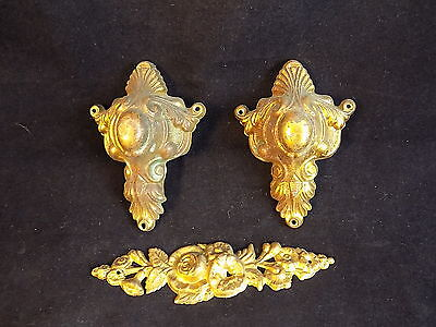 """Decorative ornate brass clock stampings 4"""" floral pattern & 4"""" gilded pieces"""
