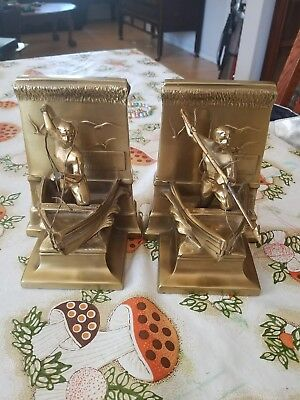 PM Craftsman brass bookends whaling harpooner