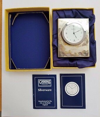 Vintage Carrs Sheffield Sterling Silver Mini Table Clock