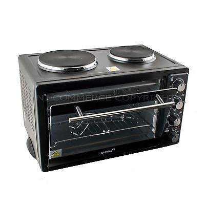 Mini Convection Oven Electric Grill Hob Rotisserie 2 Hot Plate Counter Top 33L