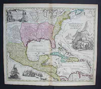 1740 Mexico Florida Virginia North America New England Cuba map Karte Homann