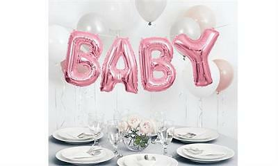 Baby Shower Party Pink Foil Letters Airfill Hanging Banner Girl Balloons 14 inch