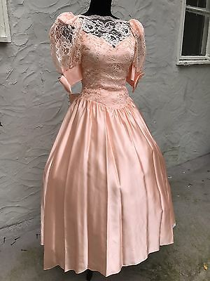 Vtg 80s Peach Party Prom Bridesmaid Dress Gown Sz S/M