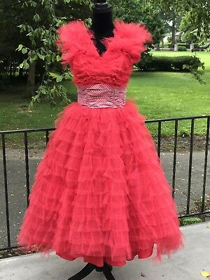 Vtg 50s 60s Red Tulle Cupcake Party Prom Dress S/M