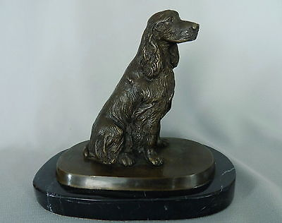 Vintage English Irish Gordon Setter Cocker Spaniel Bronze Statue on Marble Base