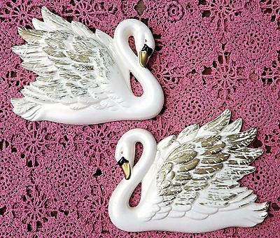 Vintage 1968 Miller Studio Inc White Chalkware Swan Plaques (2) With Gold Trm