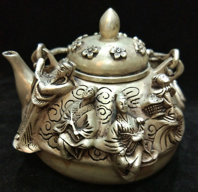 Old Chinese Silver myth Eight Immortals 8 God statue Wine Tea Pot Flagon Kettle