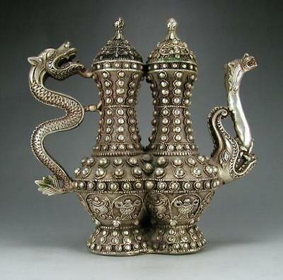 China delicate Silver Copper HandCarved Dragon Teapot/QianLong Mark
