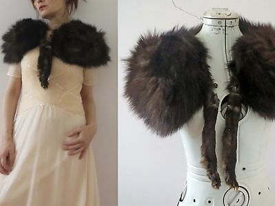 50s Brown Genuine Fox Fur Stole with legs One Size Buy 3+items for FREE Post