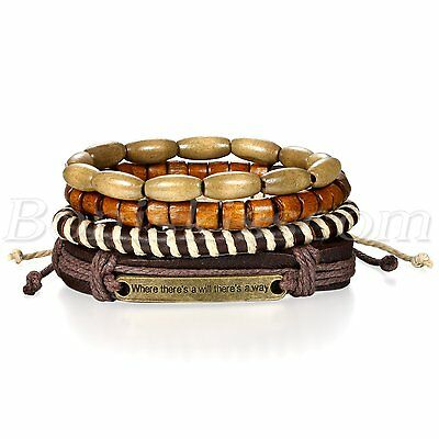 "4pcs Retro ""where there's a will there's a way"" Leather Beaded Bracelet Cuff Set"