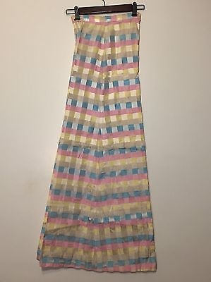 Vtg 1970s Pastel Pink Blue Plaid Ribbon Bell Bottom Pants HUGE Flare High Waist