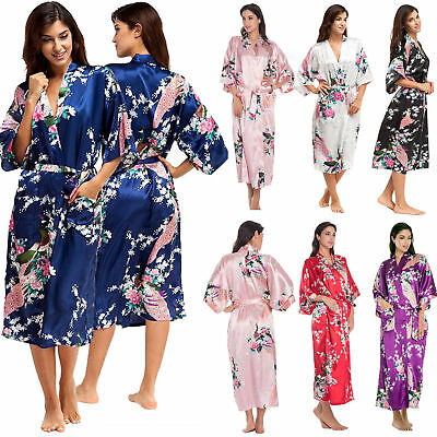 Wedding Bride Bridesmaid Ladies Floral Silk Stain Long Kimono Robe Dressing Gown