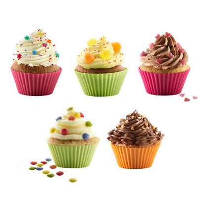 12pcs Soft Silicone Cake Muffin Chocolate Cupcake Bakeware Baking Cup Mould Tool