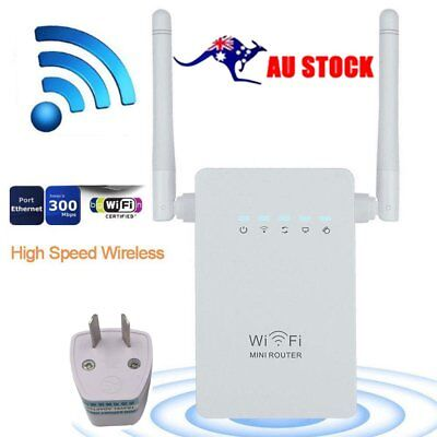 Wireless 300Mbps 802.11 AP Wifi Range Repeater Router Booster 2 Antennas AU JK