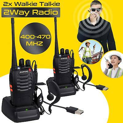 2PCS Baofeng Walkie Talkie 2 Way Radio UHF400-470MHZ Long Range 16CH Earpiece 5W