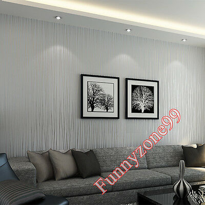 Grey Silver 3D Metallic Glitter Stripes Non-Woven Textured Wall Paper Cover Roll