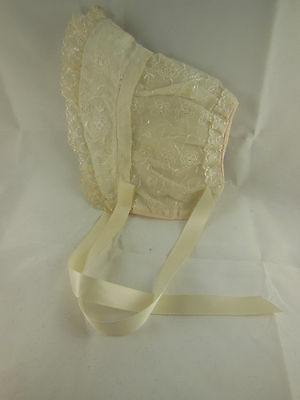 Vintage 1950s 60s Baby Bonnet Nylon orgundy w flowers ruffled edging new ribbon