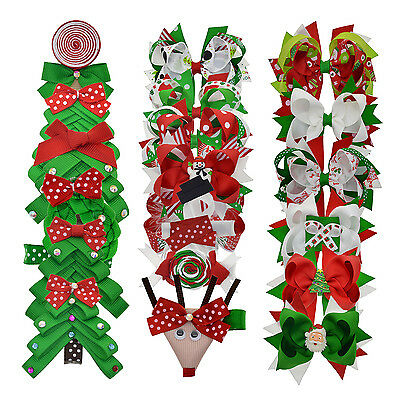 Grosgrain Ribbon Christmas Hair Bows Clips For Baby Girls Teens Toddlers