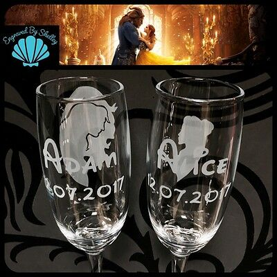 Handmade Personalised DISNEY BEAUTY AND THE BEAST Wedding Gift Champagne Flutes