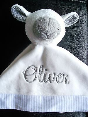 Personalised Baby Cuddle Blanket LAMB or BUNNY RattleSecurity Blankie Comforter