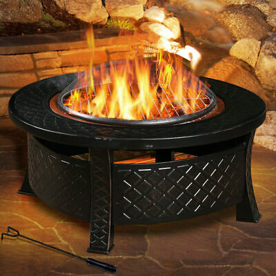 New 3 in 1 Outdoor Garden Fire Pit BBQ Firepit Brazier Round Stove Patio Heater