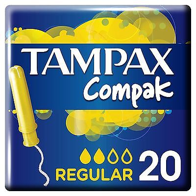 Tampax Compak Regular Tampons Applicator Womens Leakage Protection Pack of 20